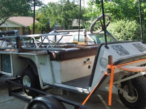 Golf cart on trailer